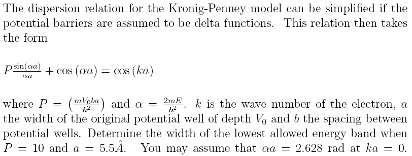 Energy bands from the Kronig-Penney model